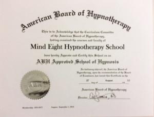 マインドエイトはABH:米国催眠療法協会の公式認定トレーナー資格を取得しています。